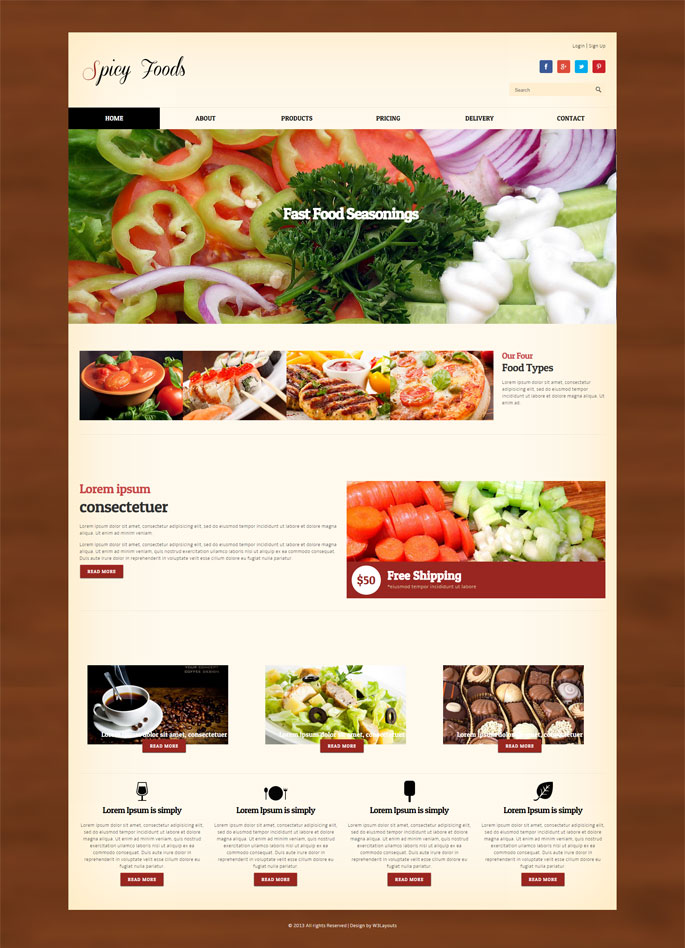 Spicy foods website template