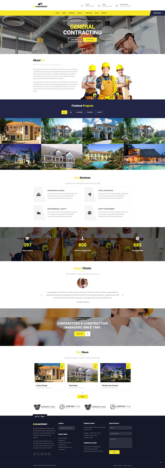 BizConstruct theme for WordPress
